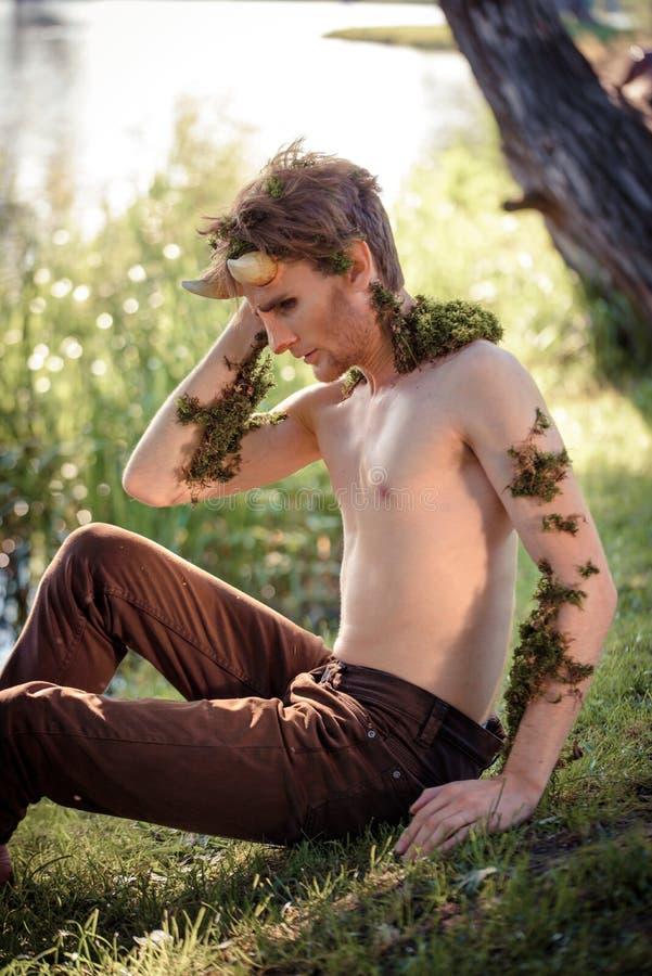 森林国王 百兽之王在毛皮的 野生年轻人 垫铁和构成 对chelowin的时尚概念 河森林和太阳 图库摄影