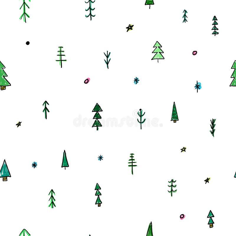 森林圣诞树简单的无缝的样式 向量例证