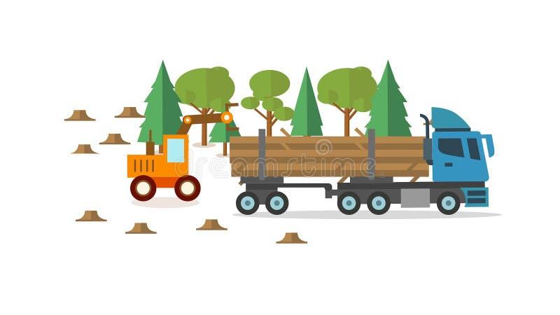 森林在圈子,被转动的樵夫buncher平的动画的收割机象 库存例证
