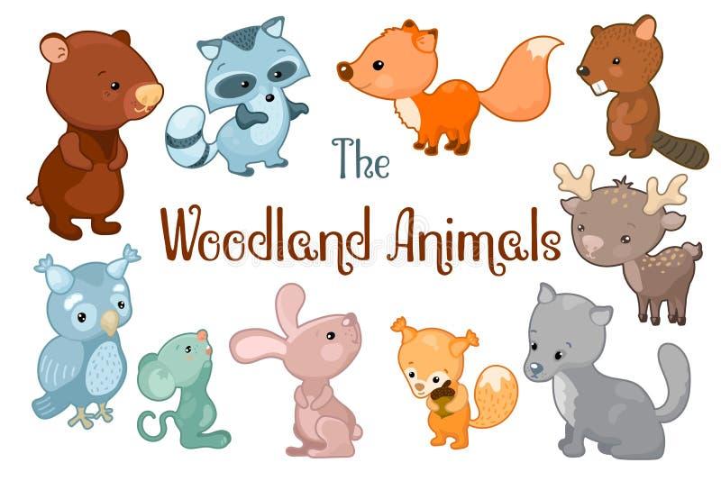 森林地动物导航在白色背景的clipart 熊,海狸,狐狸,兔子,鹿的逗人喜爱的传染媒介例证 皇族释放例证