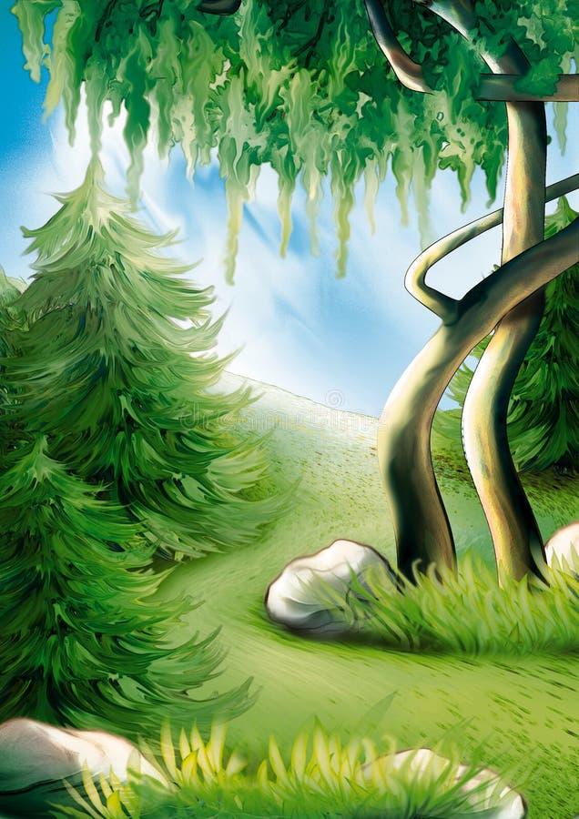 森林山坡 库存例证