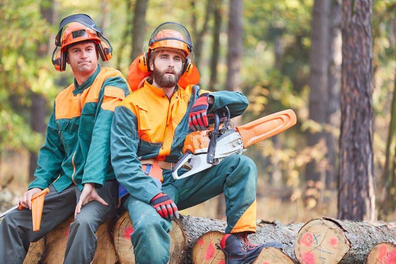 森林工作者坐击倒的树干 免版税库存图片