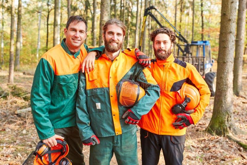 森林工作者或伐木工人作为一个骄傲的队 库存照片