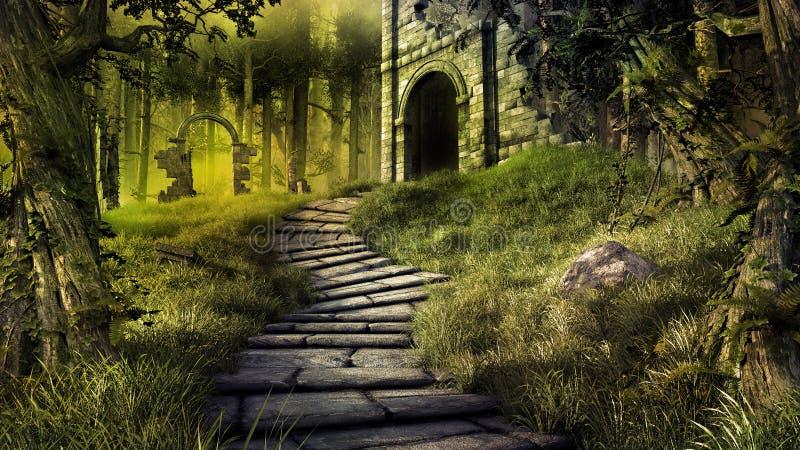 森林废墟 皇族释放例证
