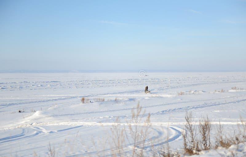 森林横向雪冬天 一条冻河的不尽的空间 一位唯一渔夫去钓鱼 库存照片