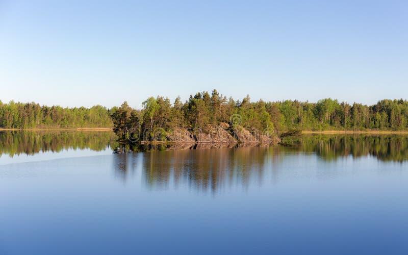 森林湖的岩质岛 库存图片