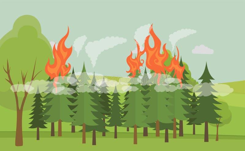 森林火灾矢量图平图 自然灾害,森林火焰,灾难 皇族释放例证