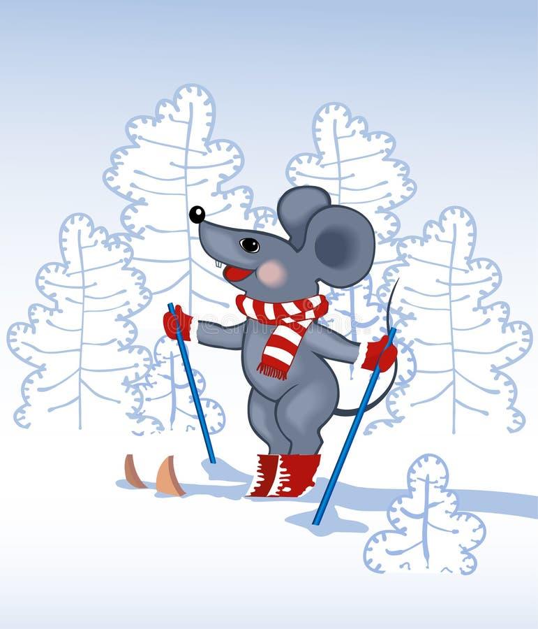 森林灰色鼠标天空 库存例证