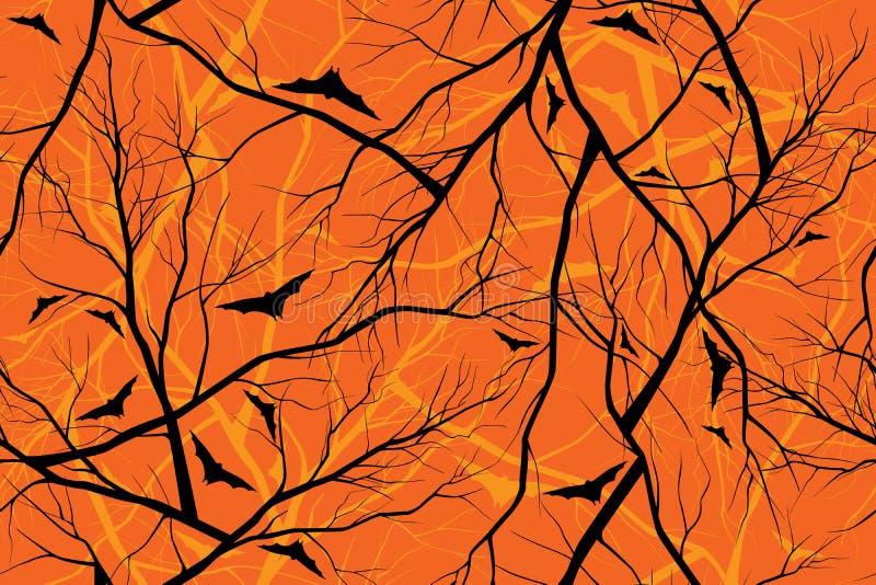 森林的万圣夜橙色背景难看的东西图象 向量例证