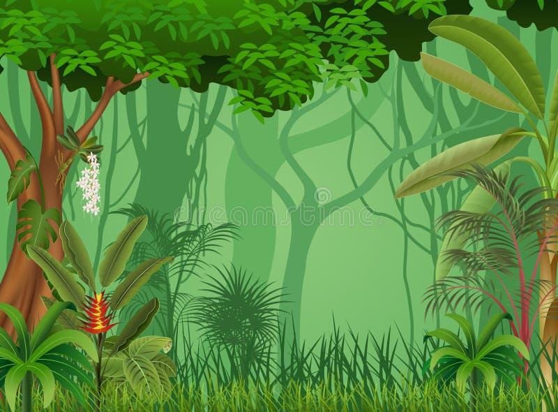 森林背景的动画片例证 皇族释放例证