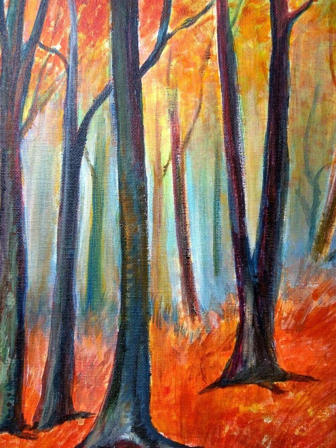 森林背景秋天 向量例证