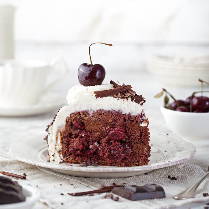 黑森林蛋糕,装饰用被鞭打的奶油和樱桃Schwarzwald饼、黑暗的巧克力和樱桃点心 库存照片