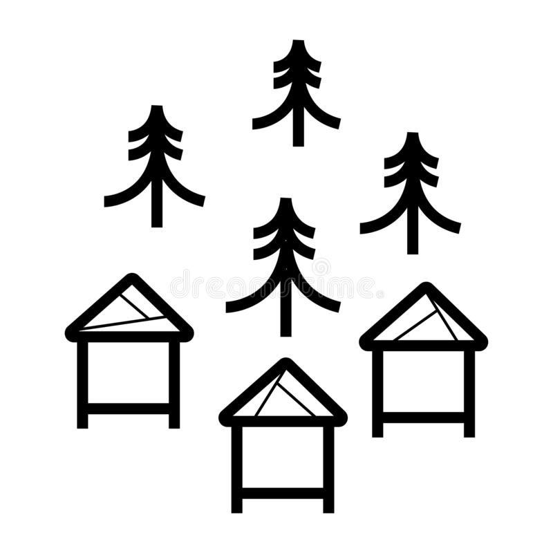 森林蜂箱象 库存例证