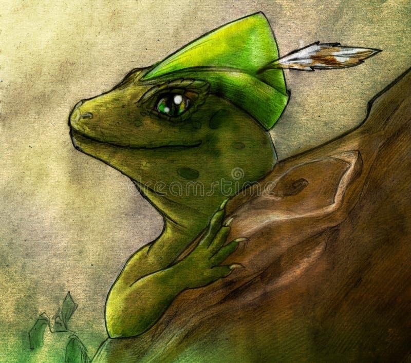 森林蜥蜴色的铅笔剪影 皇族释放例证
