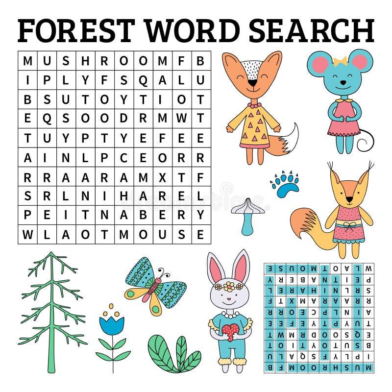 森林词孩子的查寻比赛在传染媒介 皇族释放例证