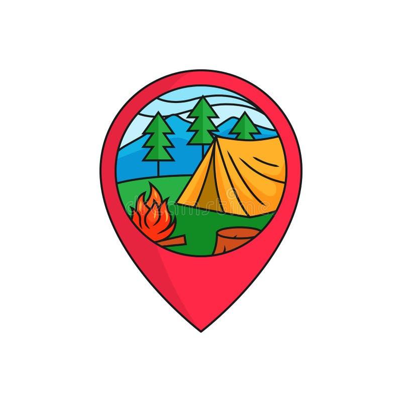 森林野营的地图别针定位器商标徽章 有篝火的帐篷在山松室外活动概念的森林例证 向量例证