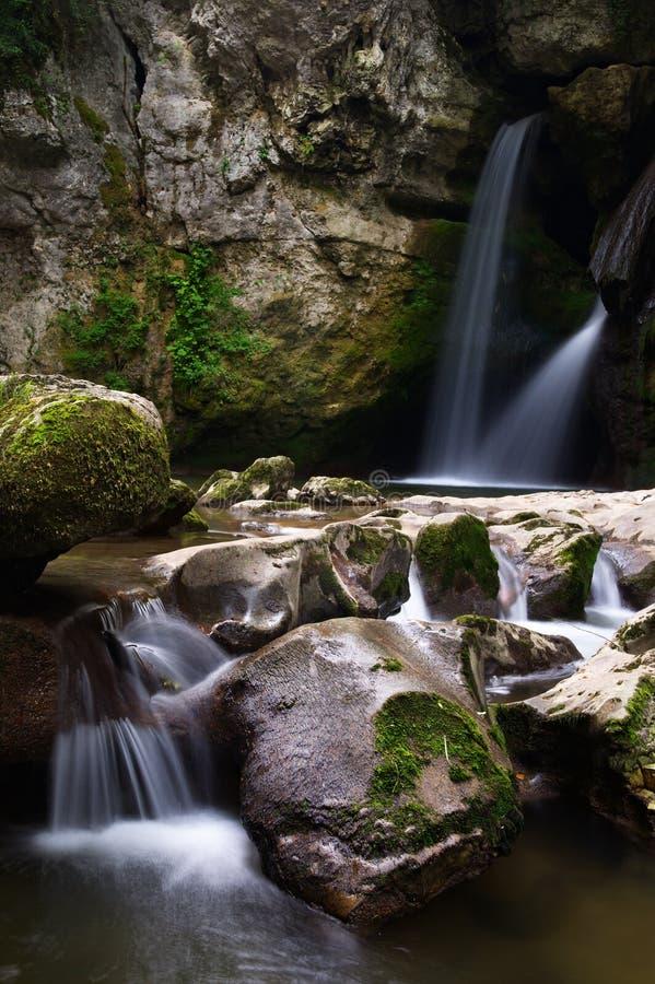 森林隐藏的小的二瀑布 库存图片