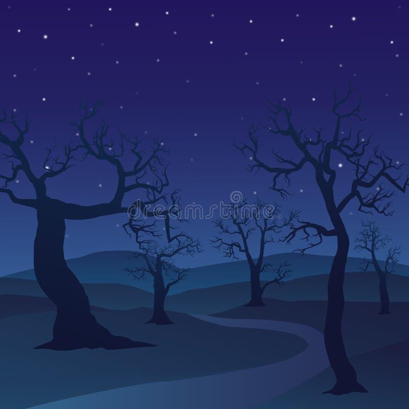 森林风景在与死的树和满天星斗的天空的夜天 库存例证