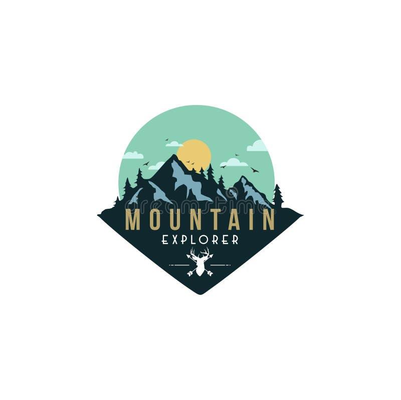 森林,山冒险,鹿猎人徽章传染媒介商标 库存图片