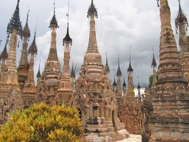 森林paya stupas 免版税库存图片