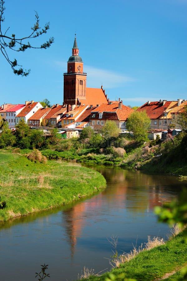 森波波尔镇看法在巴尔托希采县,瓦尔米亚-马祖里省,波兰 免版税库存照片