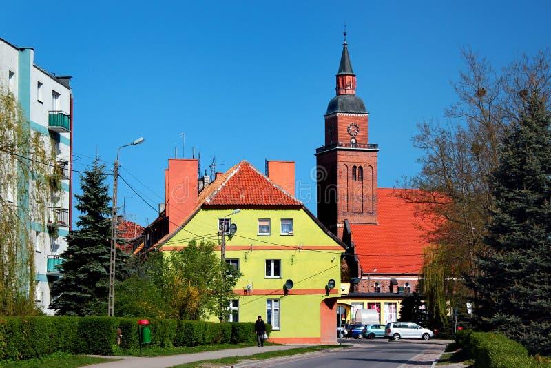 森波波尔镇看法在巴尔托希采县,瓦尔米亚-马祖里省,波兰 库存图片