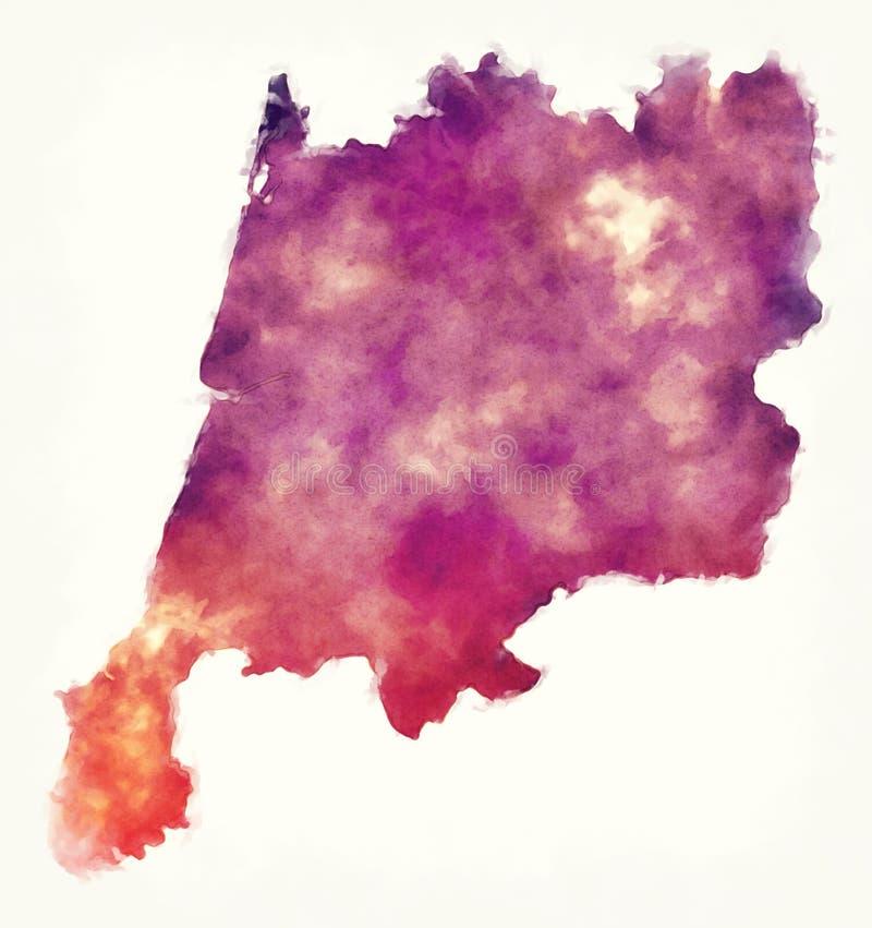 森特鲁地区葡萄牙的水彩地图在白色bac前面的 皇族释放例证