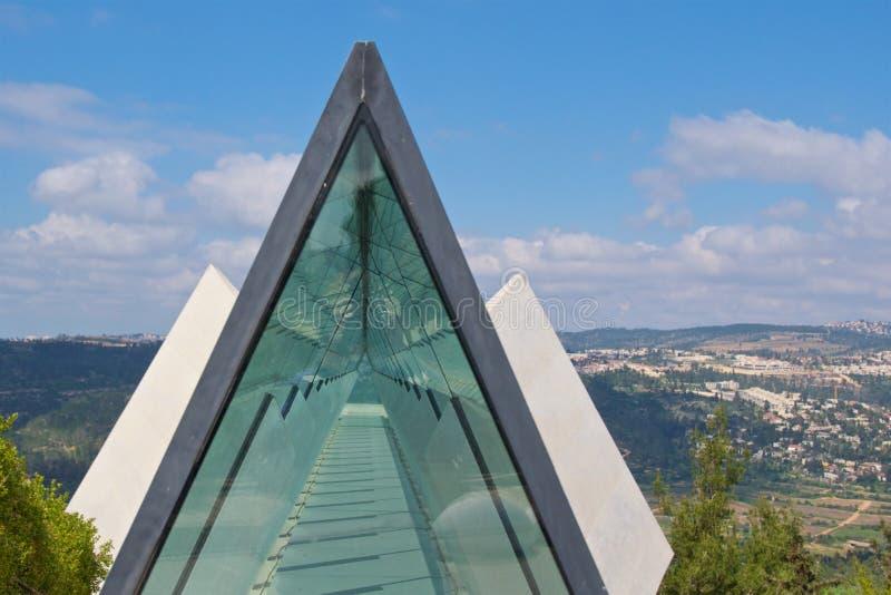 棱镜天窗在以色列犹太大屠杀纪念馆博物馆在耶路撒冷,以色列 库存图片