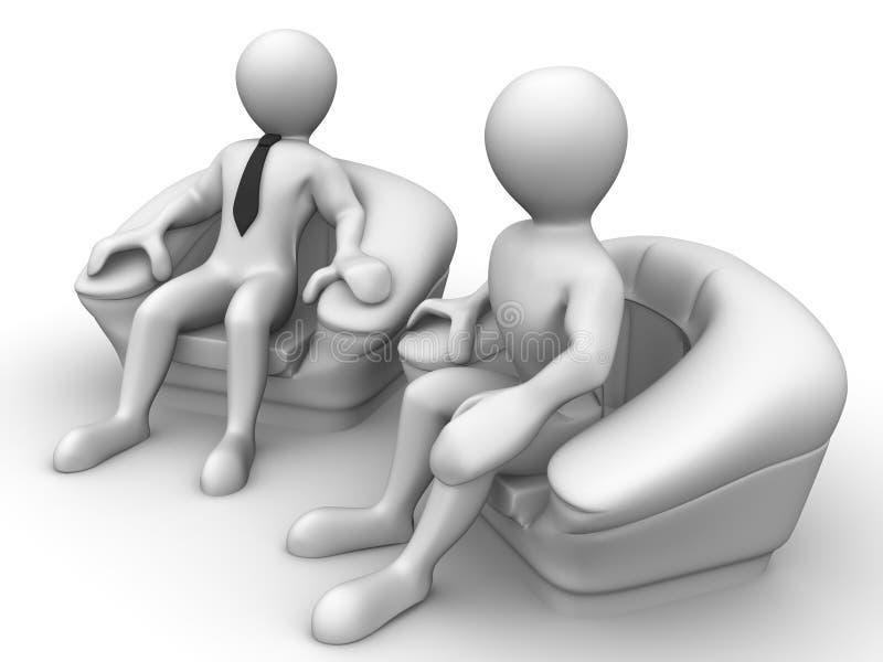 椅子人供以座位二 库存例证