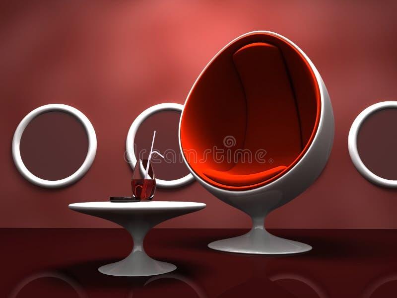 椅子内部现代红色表 库存例证