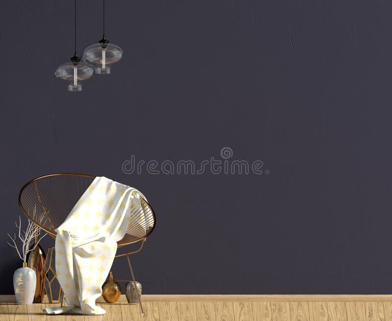 椅子内部现代 墙壁嘲笑 库存例证