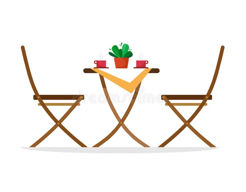 椅子和一张桌与热的咖啡杯在桌上 传染媒介在白色背景的例证孤立 库存例证
