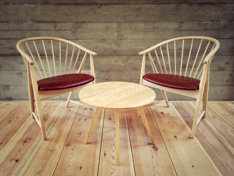 椅子和咖啡桌在有现代设计的一间屋子里 库存照片