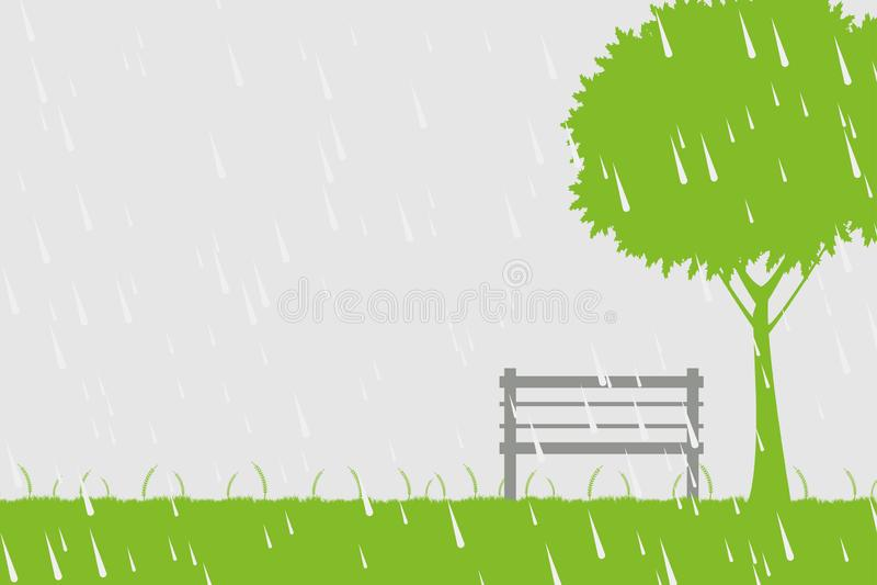 椅子和树在雨中在绿色背景 皇族释放例证