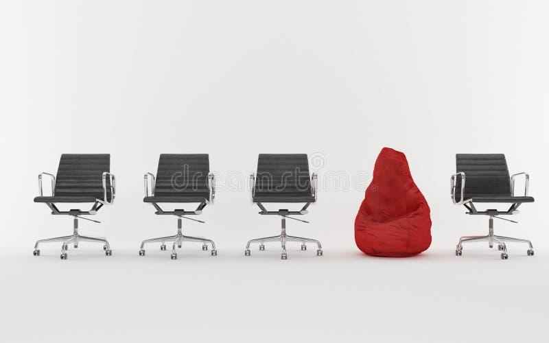 椅子和装豆子小布袋 免版税库存图片