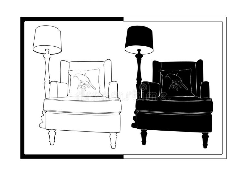 椅子和闪亮指示 库存例证