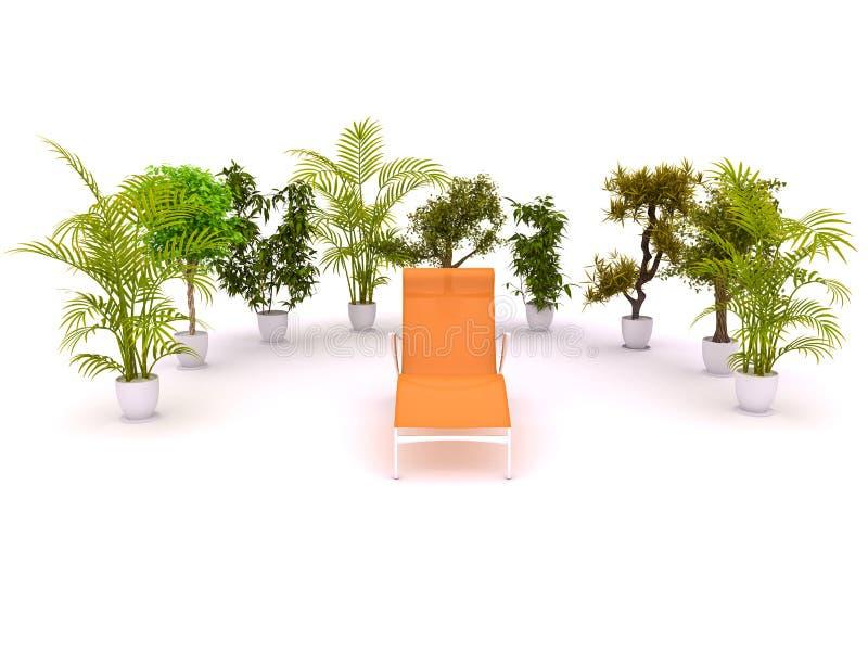 椅子围绕工厂 向量例证