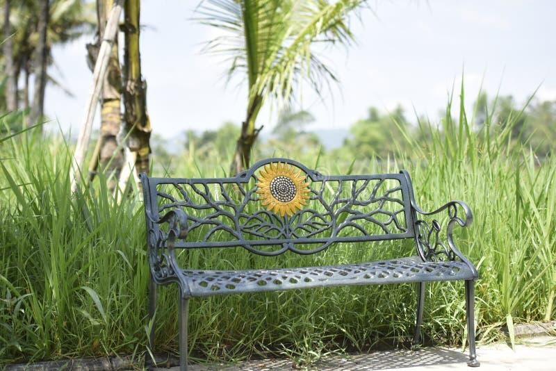 椅子在庭院里,由铁制成,版本2 库存照片