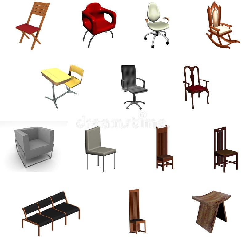 椅子收集 免版税库存图片
