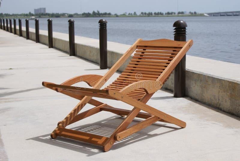 椅子甲板木头 免版税库存照片