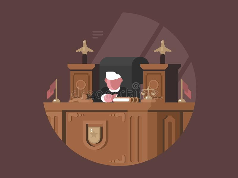 椅子的明智的法官在工作场所 皇族释放例证