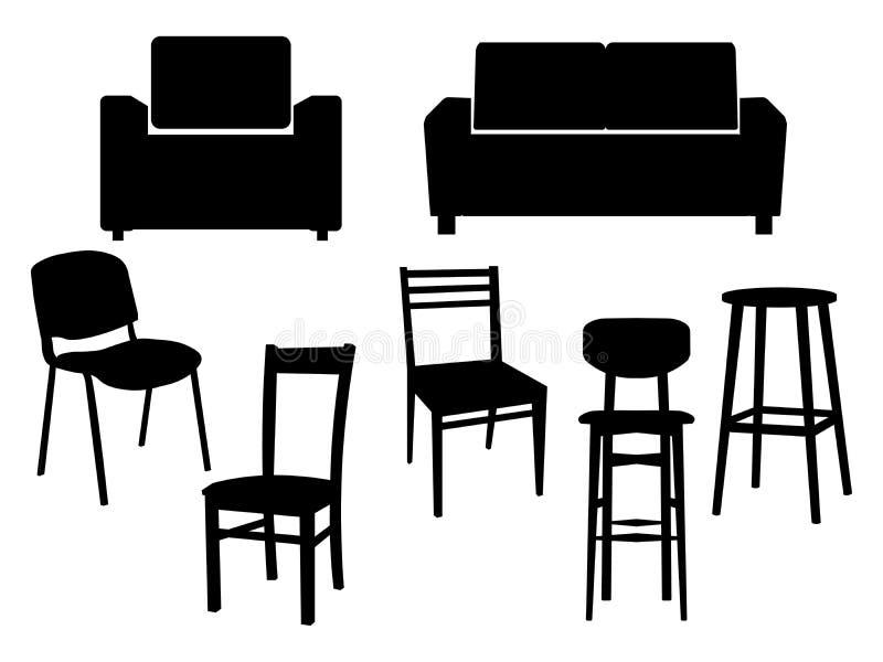 椅子象内部家具老牌扶手椅子汇集黑剪影  传染媒介平的例证 皇族释放例证