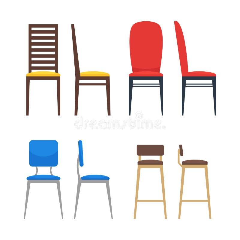 椅子象集合 就座家具 库存例证