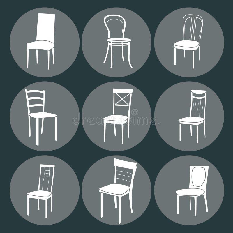 椅子象集合 标志家具 向量例证