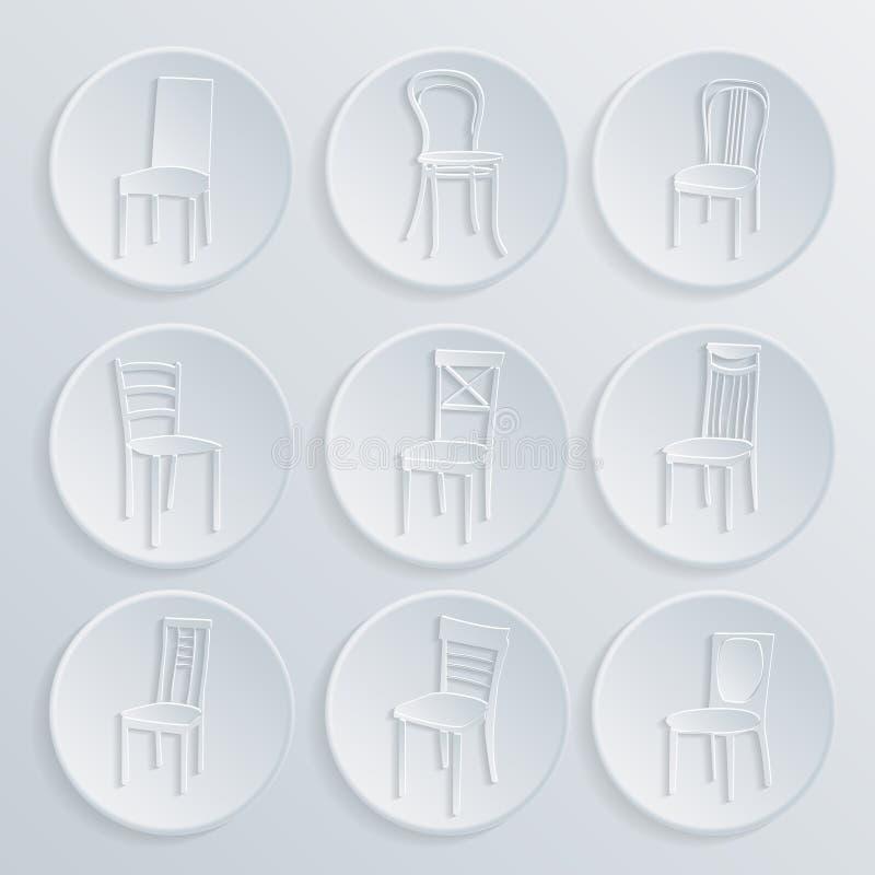 椅子象集合 标志家具 库存例证