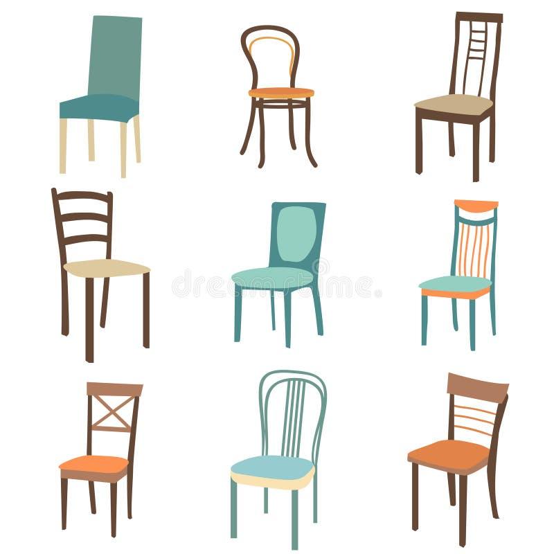椅子象集合 标志家具 皇族释放例证