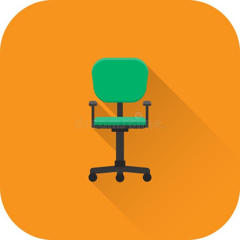 椅子象 向量 与长的阴影的平的设计 向量例证