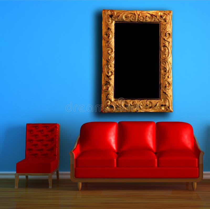 椅子长沙发框架现代红色 皇族释放例证