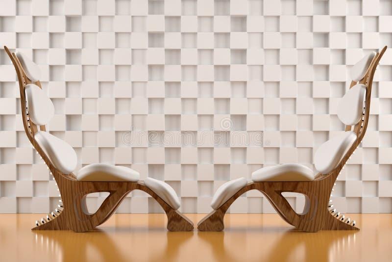 椅子面对放松对白色 库存例证
