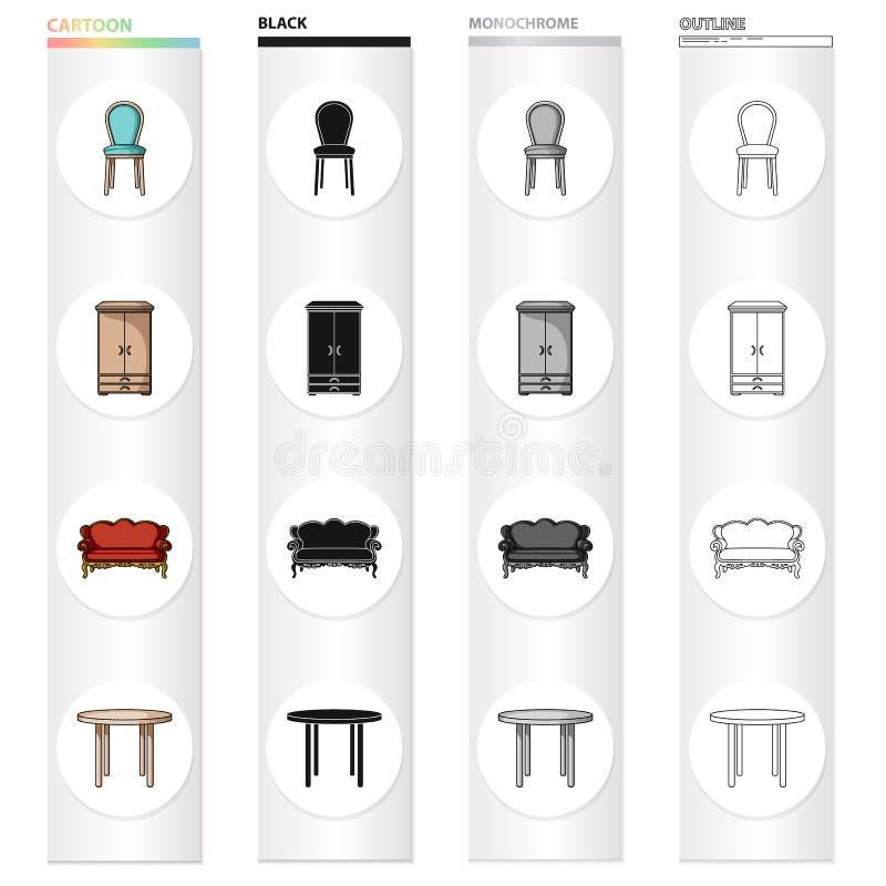 椅子,衣橱,长沙发,一张餐桌 家具和家庭内部设置了在动画片黑色的汇集象 向量例证
